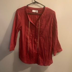 KIM ROGERS Red Button Down Top Petite Large